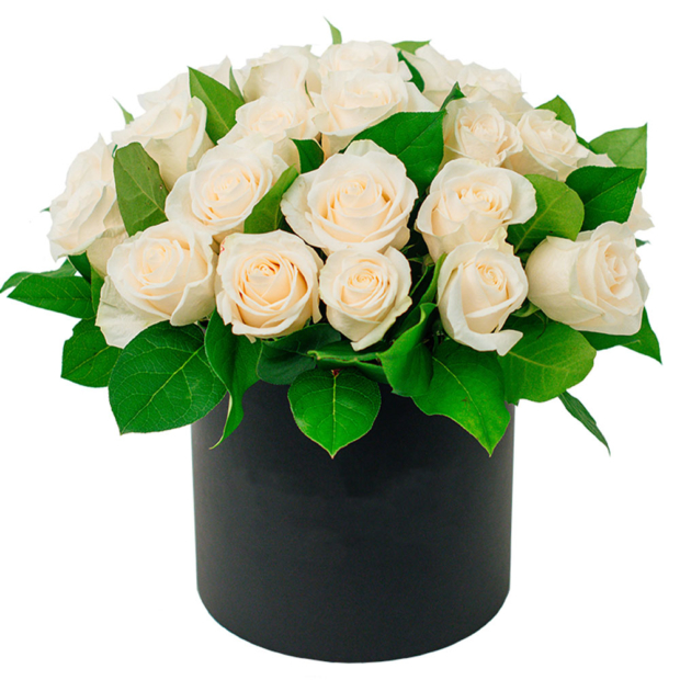 """Цветы в коробке """"Бежевые розы"""""""