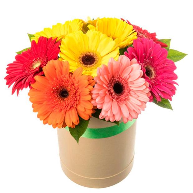 """Цветы в коробке """"Микс гербер"""""""