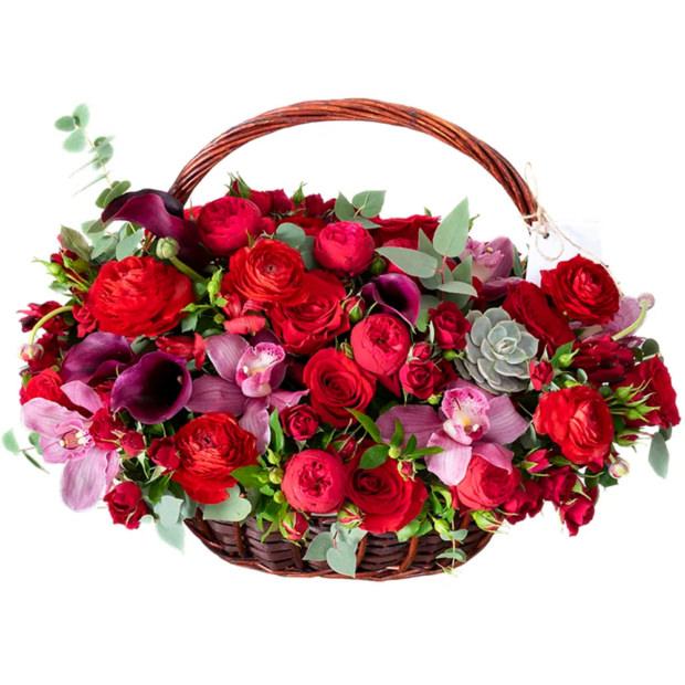 """Цветы в корзинке """"Алые паруса"""""""