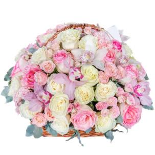 """Цветы в корзинке """"Малиновое мороженное"""""""